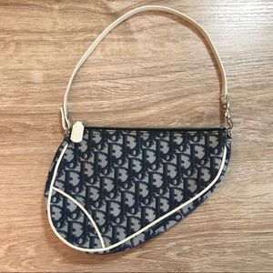 Vintage Dior Blue Monogram Mini Saddle Bag